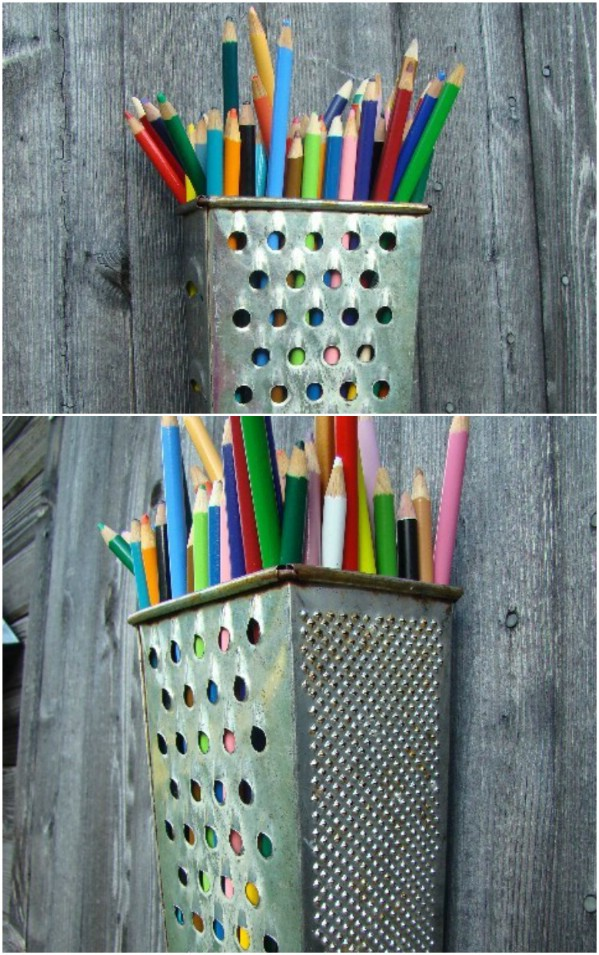 Upcycled Cheese Grater Pencil Holder