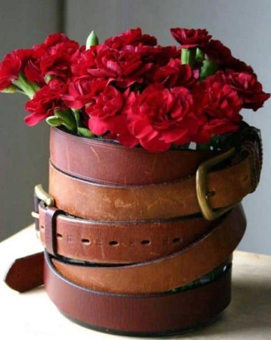 Vintage Belt Wrapped Vase