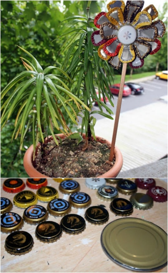 Adorable DIY Bottle Cap Garden Flower