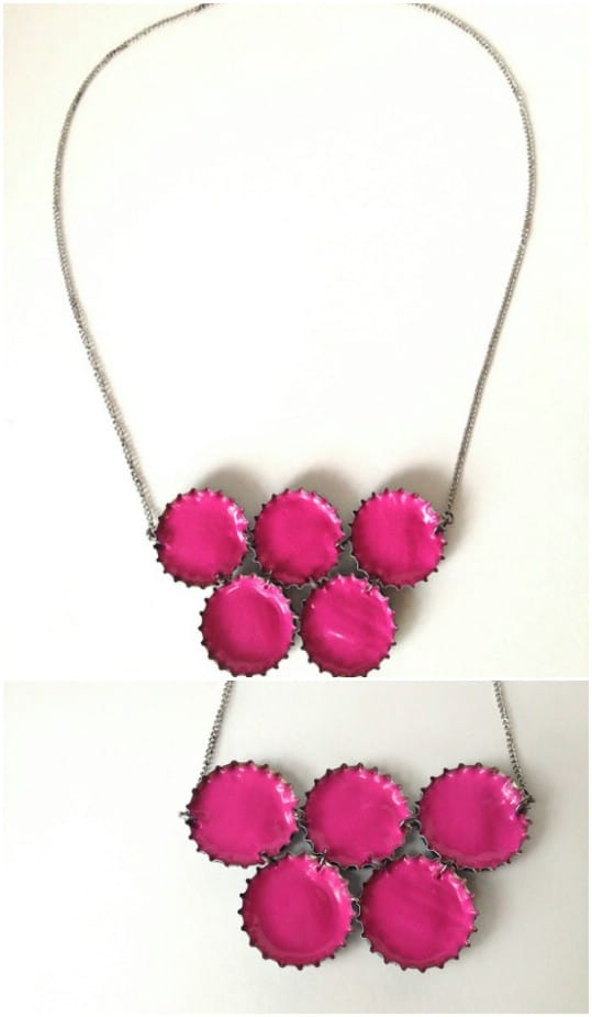 Upcycled Bottle Cap Neon Necklace