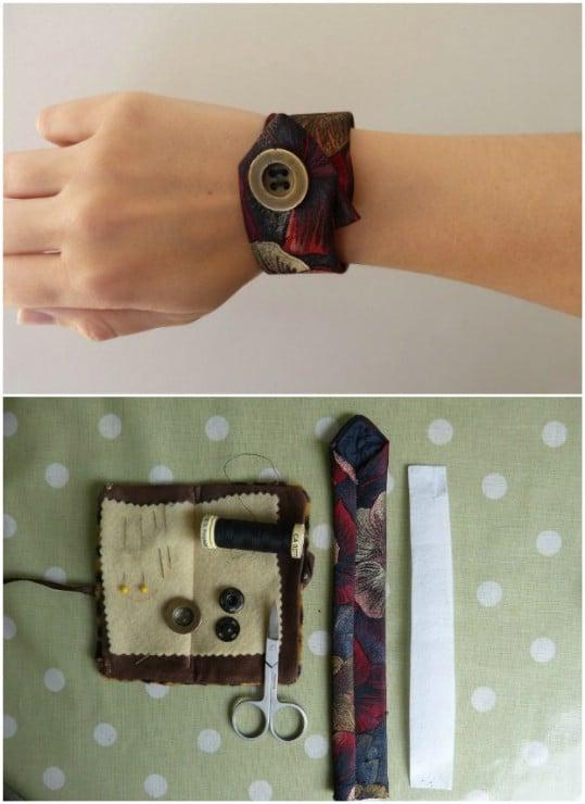 DIY Repurposed Necktie Cuff Bracelet