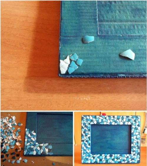 DIY Eggshell Mosaic Picture Frame