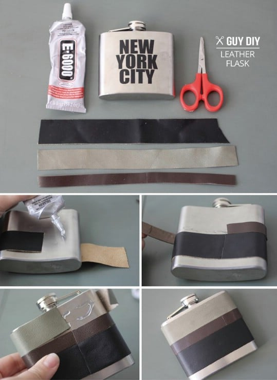 Easy DIY Leather Wrapped Flask