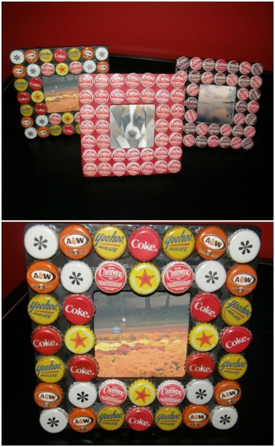 DIY Bottle Cap Picture Frames