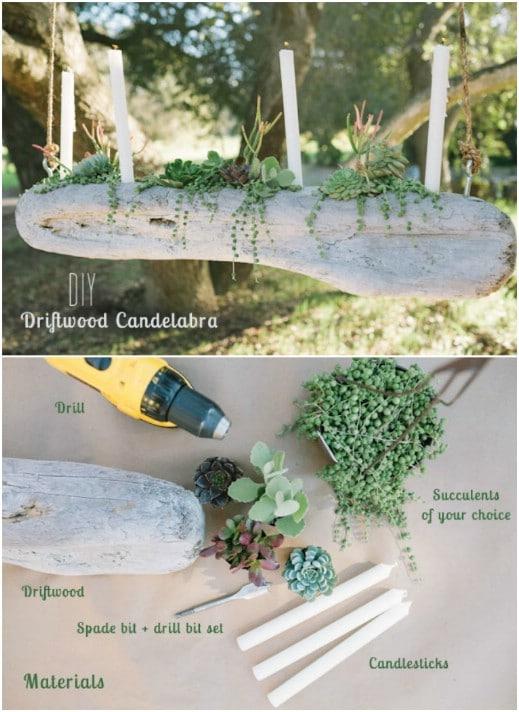 DIY Rustic Driftwood Candelabra