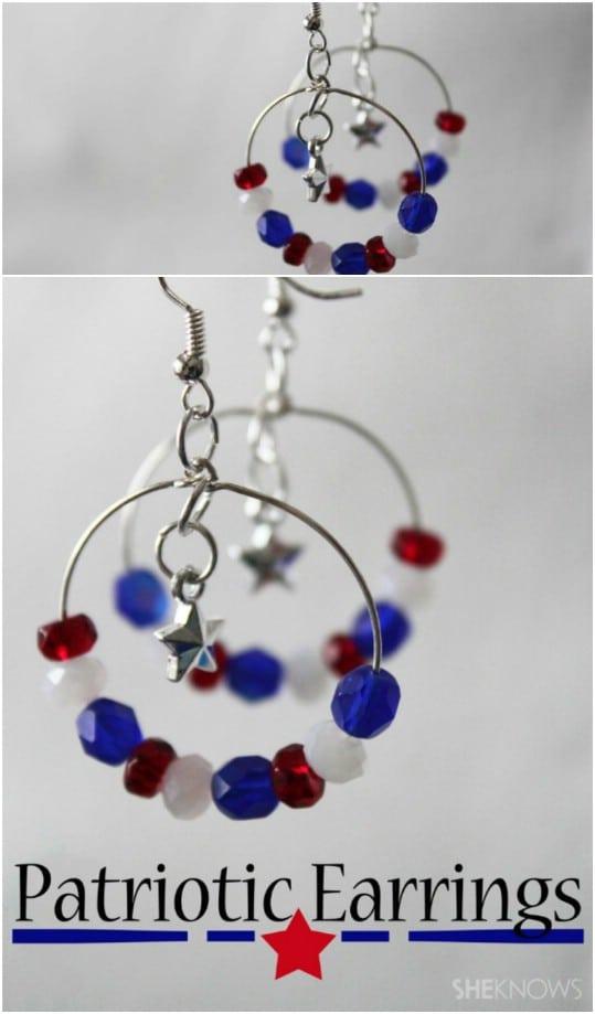 DIY Independence Day Hoop Earrings