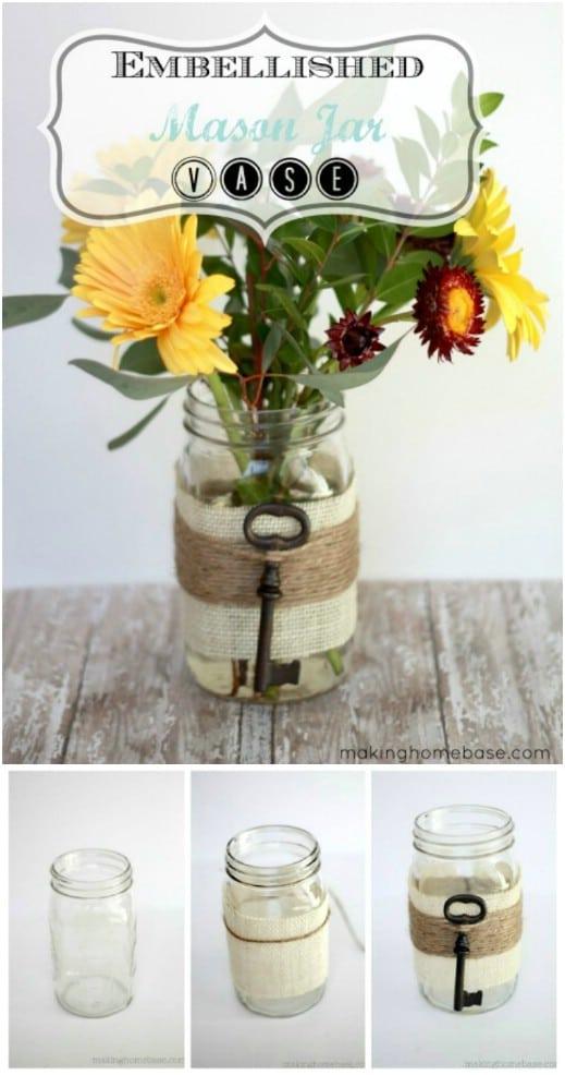 Rustic Key Mason Jar Vase