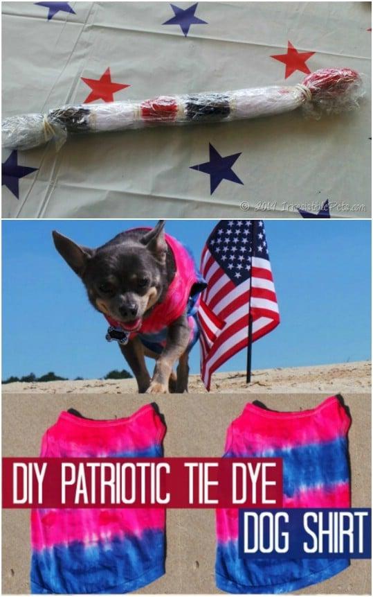 Patriotic Tie Dye Doggie Shirt