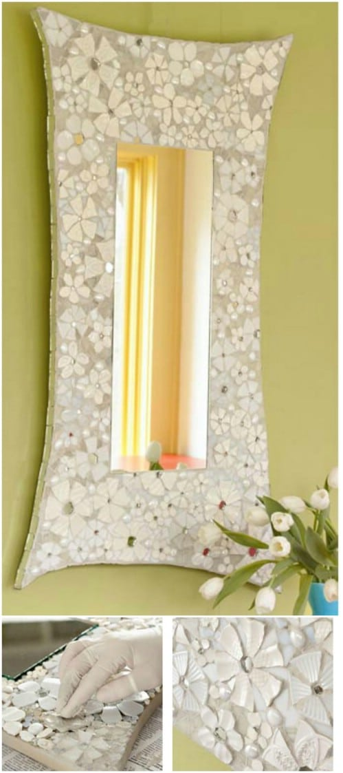 Easy Mosaic Flower Mirror Frame
