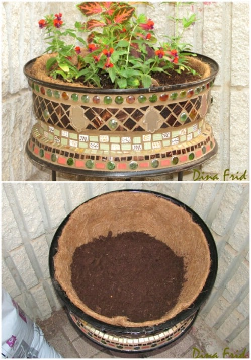 Repurposed Wheel Mosaic Flower Pot