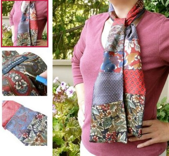 Fashionable Recycled Necktie Scarf
