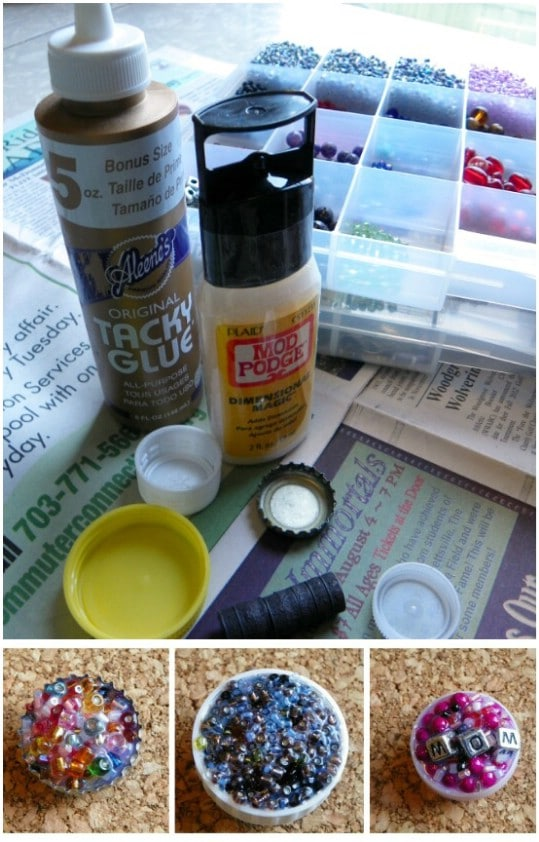 DIY Bottle Cap Kitchen Magnets