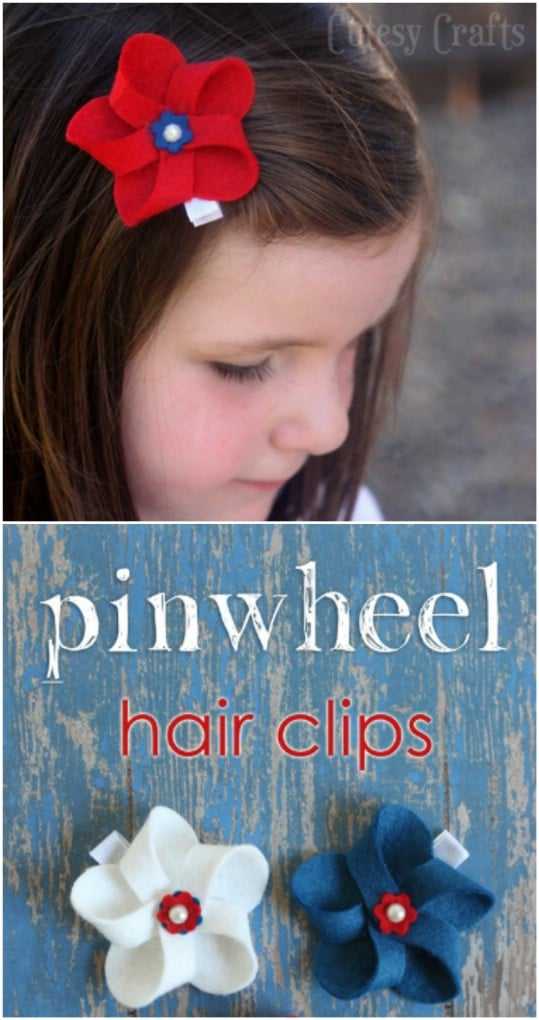 DIY Felt Pinwheel Hair Bows