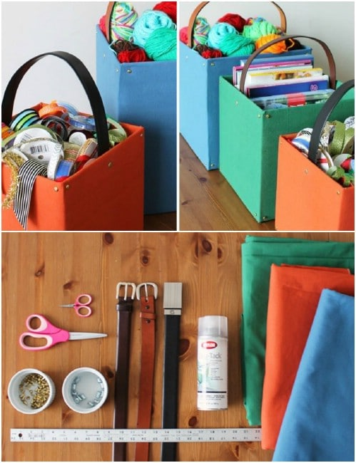 Repurposed Cardboard Belted Storage Tote