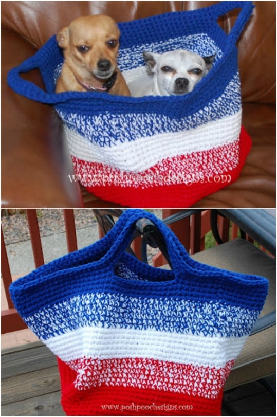 Large Striped Crochet Bag