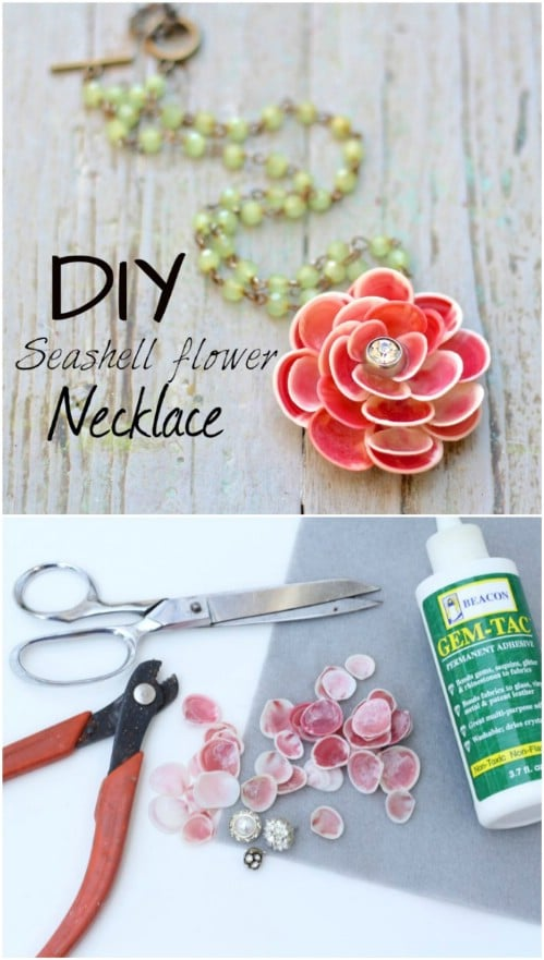 DIY Seashell Flower Necklace