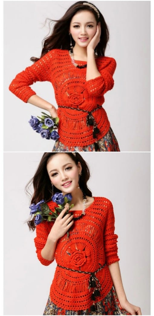 Crocheted Flower Center Pullover