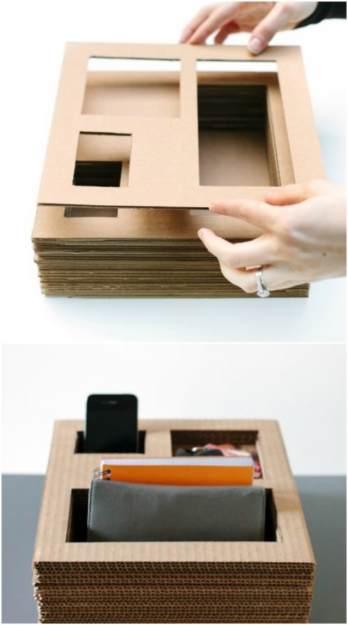 Repurposed Cardboard Desktop Organizer