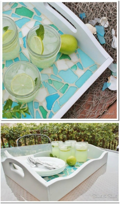 Sea Glass Mosaic Serving Tray