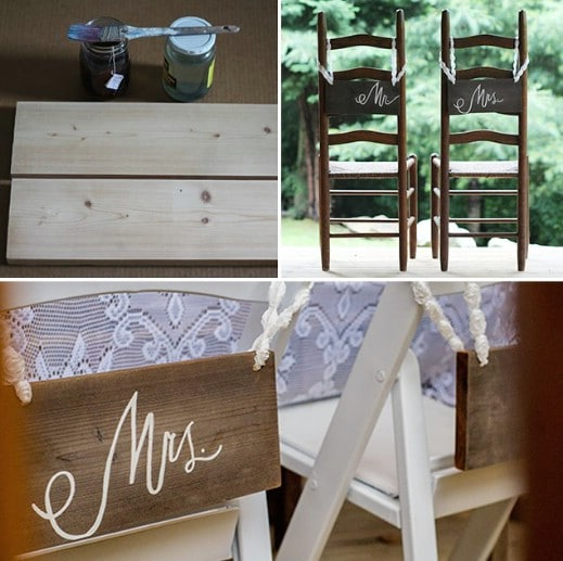 Rustic Wood Bride And Groom Chair Signs
