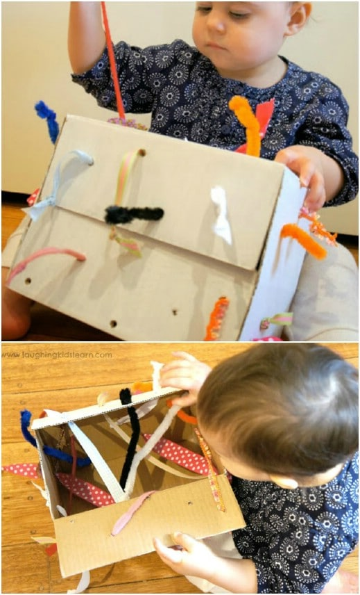 DIY Fine Motor Development Tugging Box