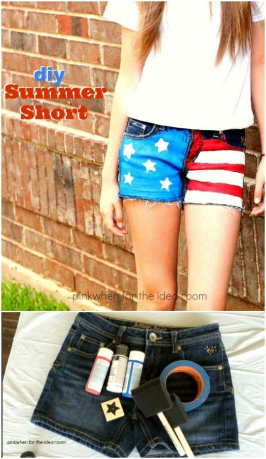 DIY Denim American Flag Shorts