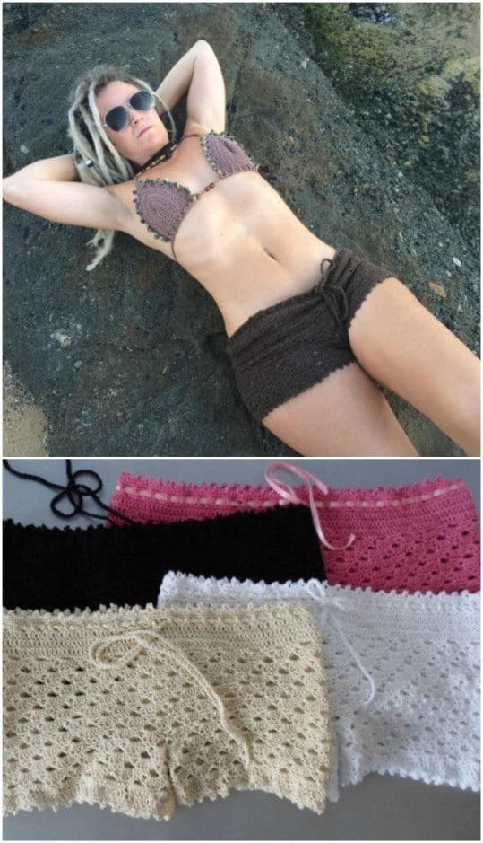 Crochet Beach Shorts Cover Up
