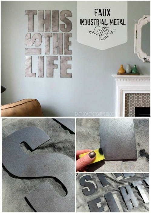 Faux Industrial Metal Letters