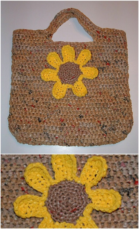 DIY Plarn Sunflower Tote