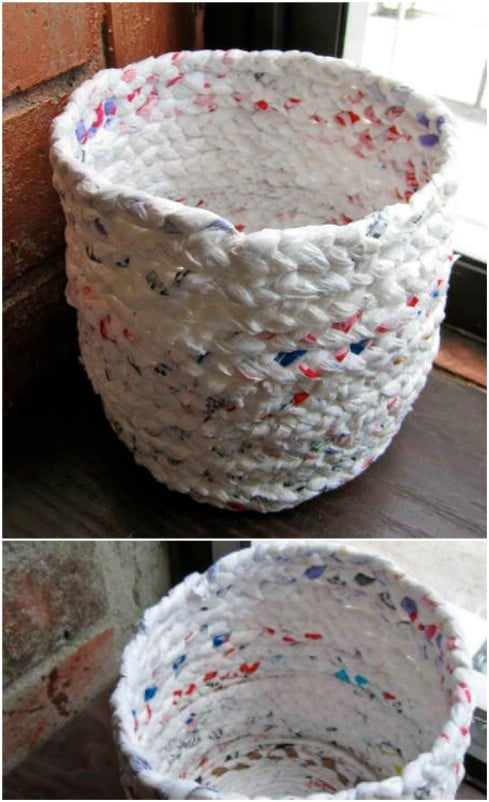 Cute Repurposed Plastic Bag Trash Can