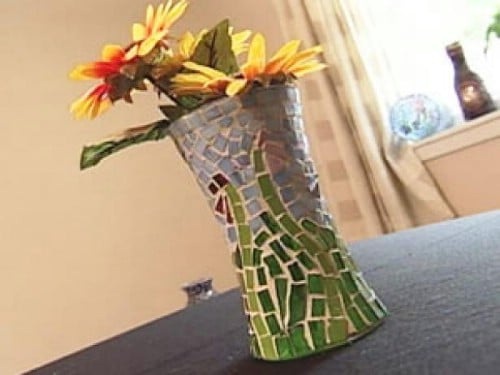DIY Glass Mosaic Vase