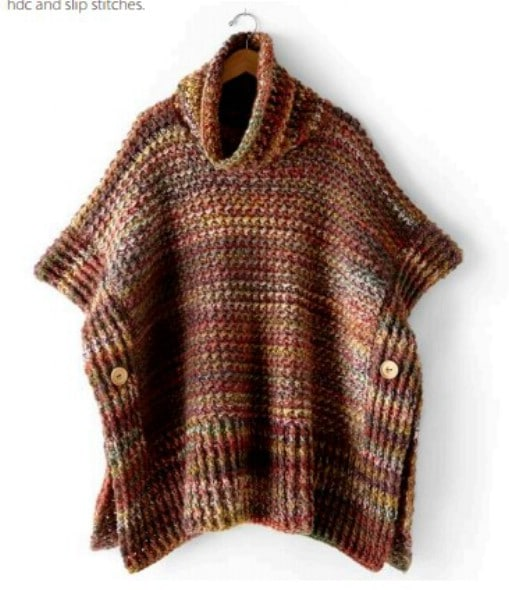 Easy Tweed Look Poncho Sweater
