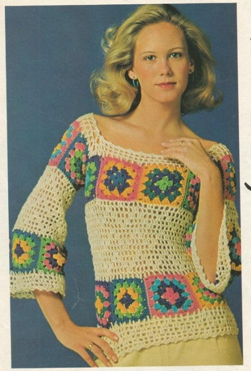 Vintage Crochet Floral Pullover