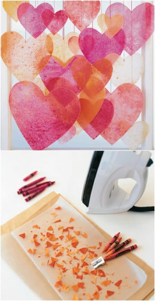 Crayon Heart Sun Catchers