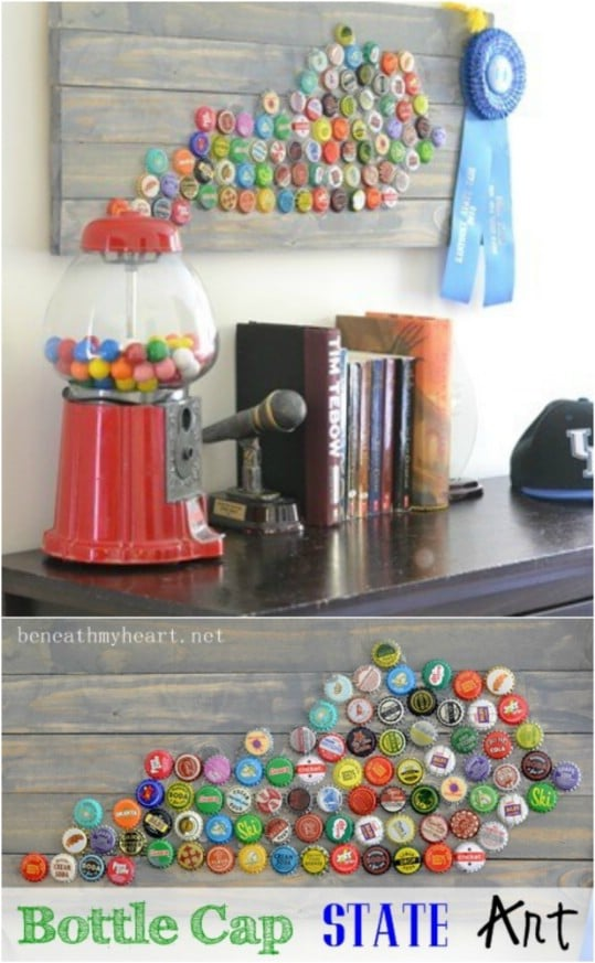 Upcycled Bottle Cap State Art