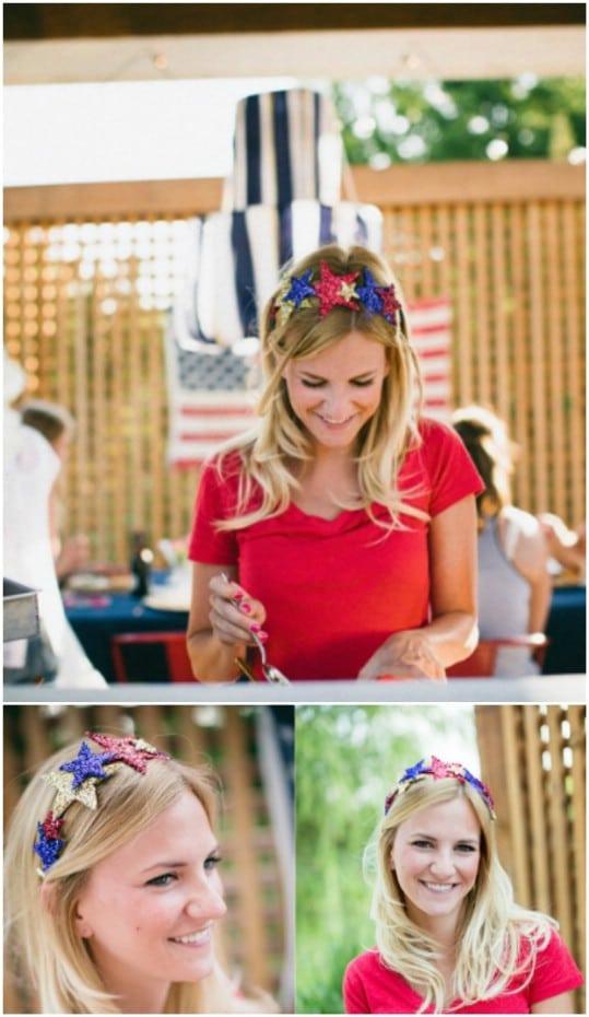 DIY Patriotic Glitter Crown