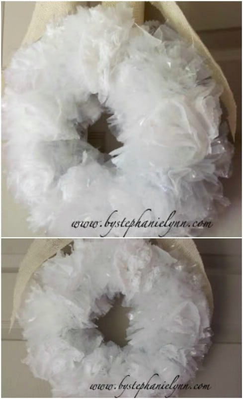 DIY Upcycled Plastic Bag Wreath