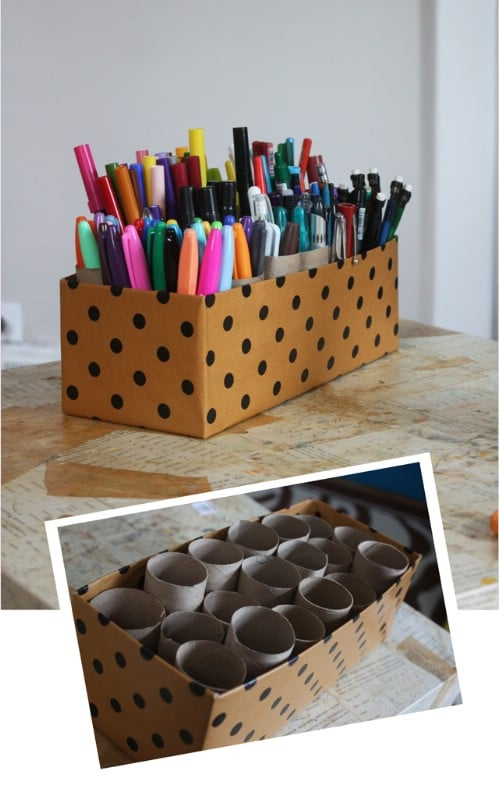 Easy 10 Minute Cardboard Marker Caddy