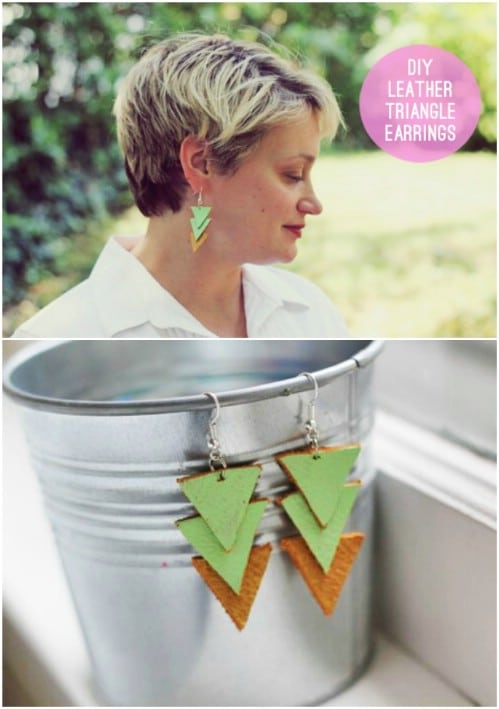 Colorful Leather Triangle Earrings