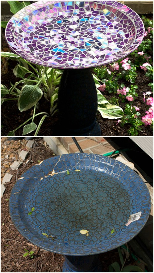 Upcycled CD Mosaic Birdbath