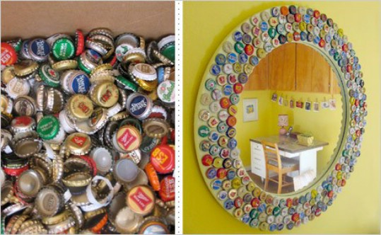 Vintage Bottle Cap Mirror