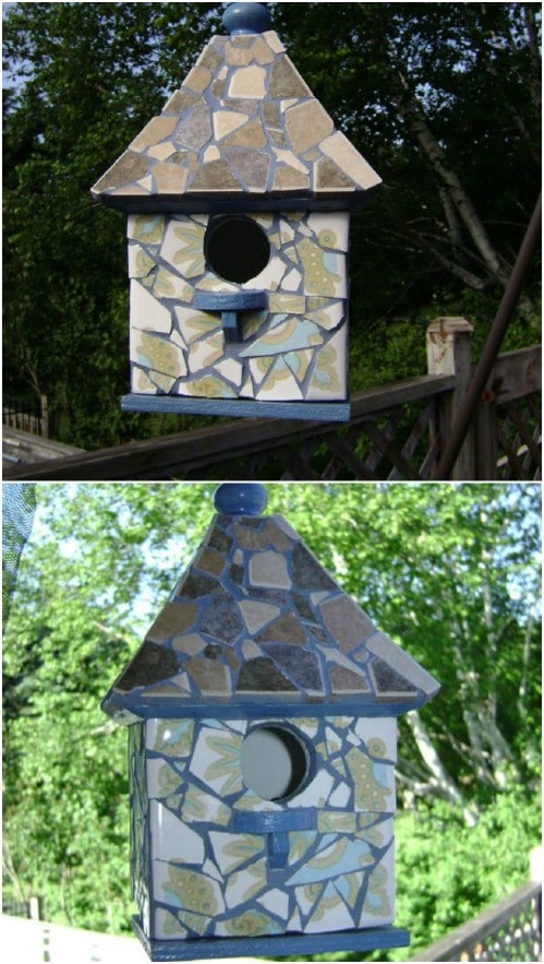 Easy DIY Mosaic Birdhouse
