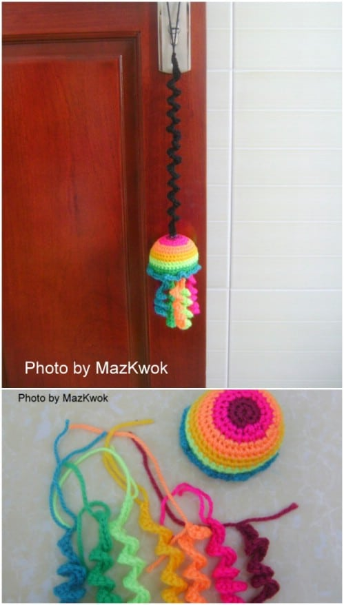 Crochet Bouncing Rainbow Cat Toy