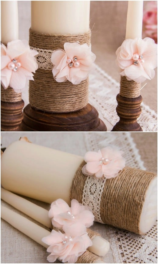 35 breathtaking diy rustic wedding decorations for the wedding of rustic twine and lace unity candle junglespirit Images
