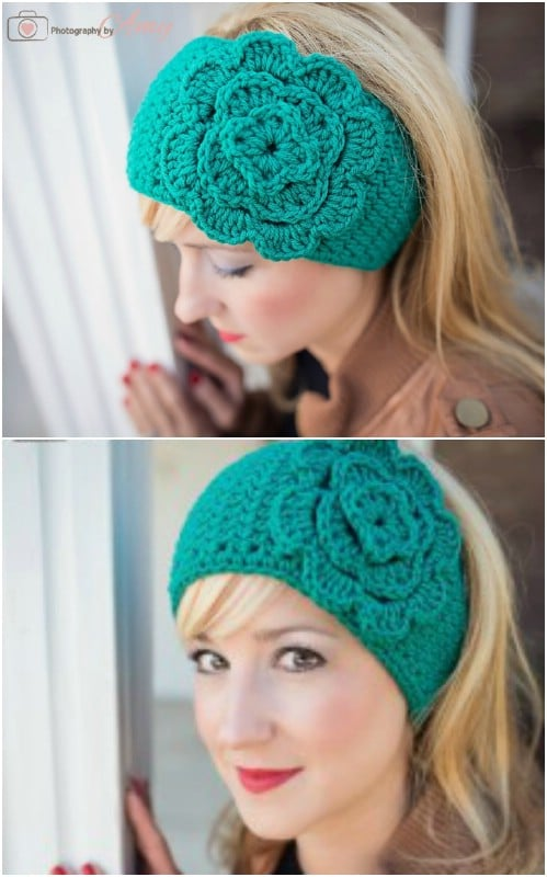 Easy Crocheted Floral Head Wrap