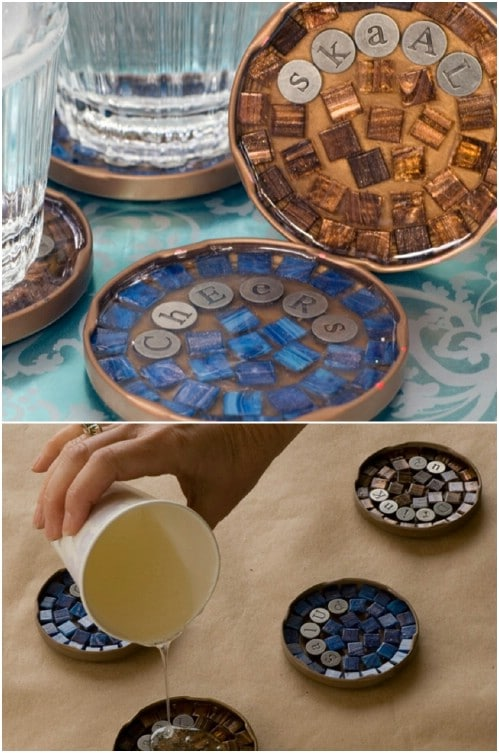 Upcycled Jar Lid Mosaic Cocktail Coasters