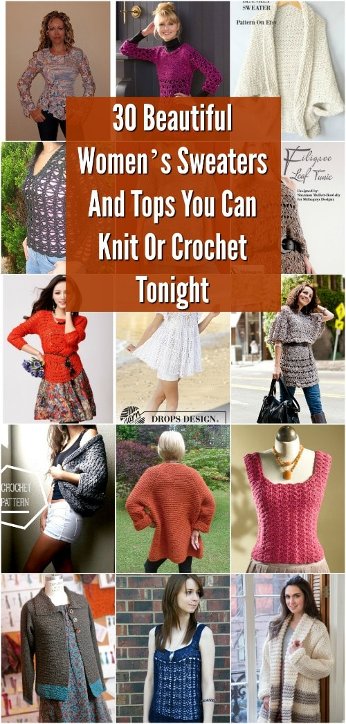 570fd3802 30 Beautiful Women s Sweaters And Tops You Can Knit Or Crochet ...