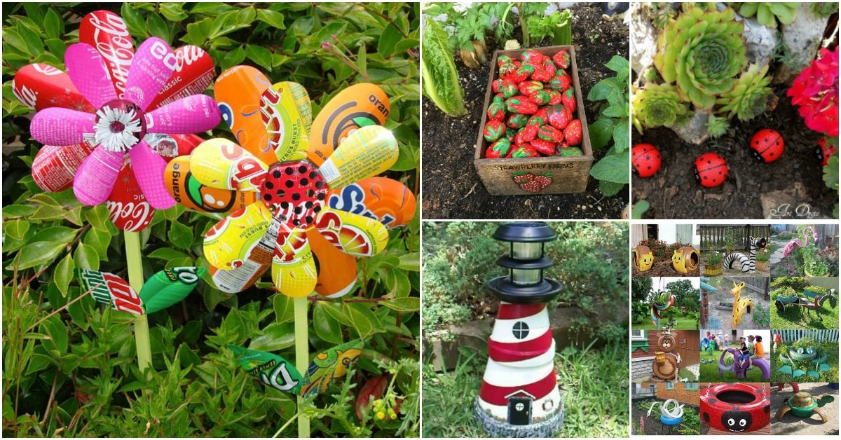 30 adorable garden decorations to add whimsical style to for Homemade garden decor crafts