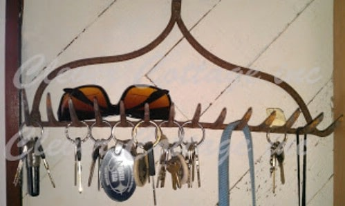 Rustic Rake Head Key Rack
