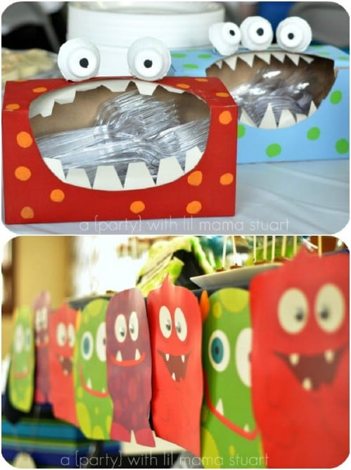 DIY Monster Party Utensil Storage